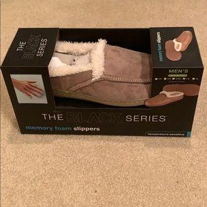 The black series memory foam slippers, tan color